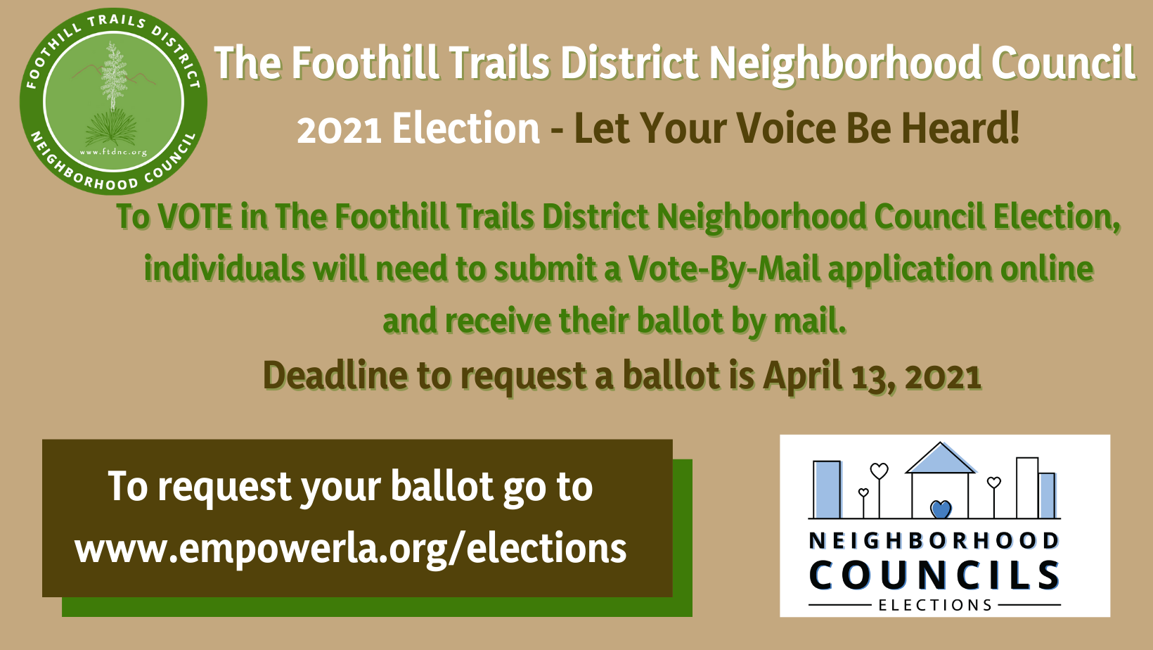 Deadline to Request Vote-by-Mail Ballot is April 13!